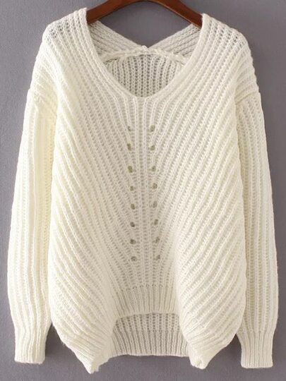 White V Neck High Low Sweater