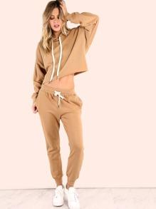 Cropped Batwing Sweatpants Matching Set CAMEL