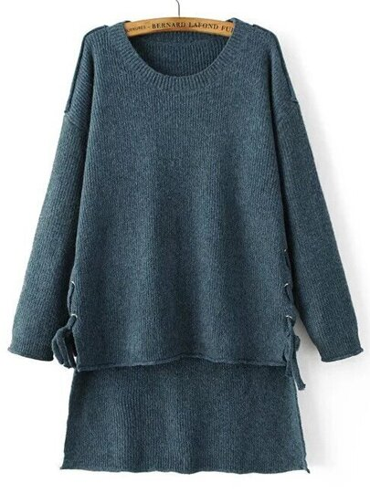 Blue Drop Shoulder Lace Up High Low Sweater