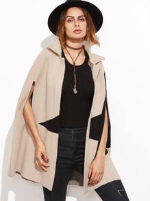 Colorblock Open Front Poncho Coat