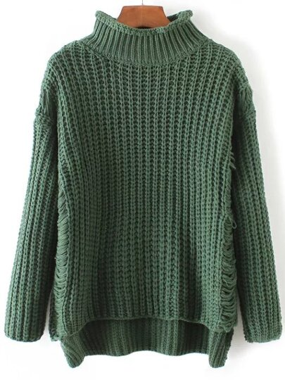 Green Ripped Turtleneck Dip Hem Sweater