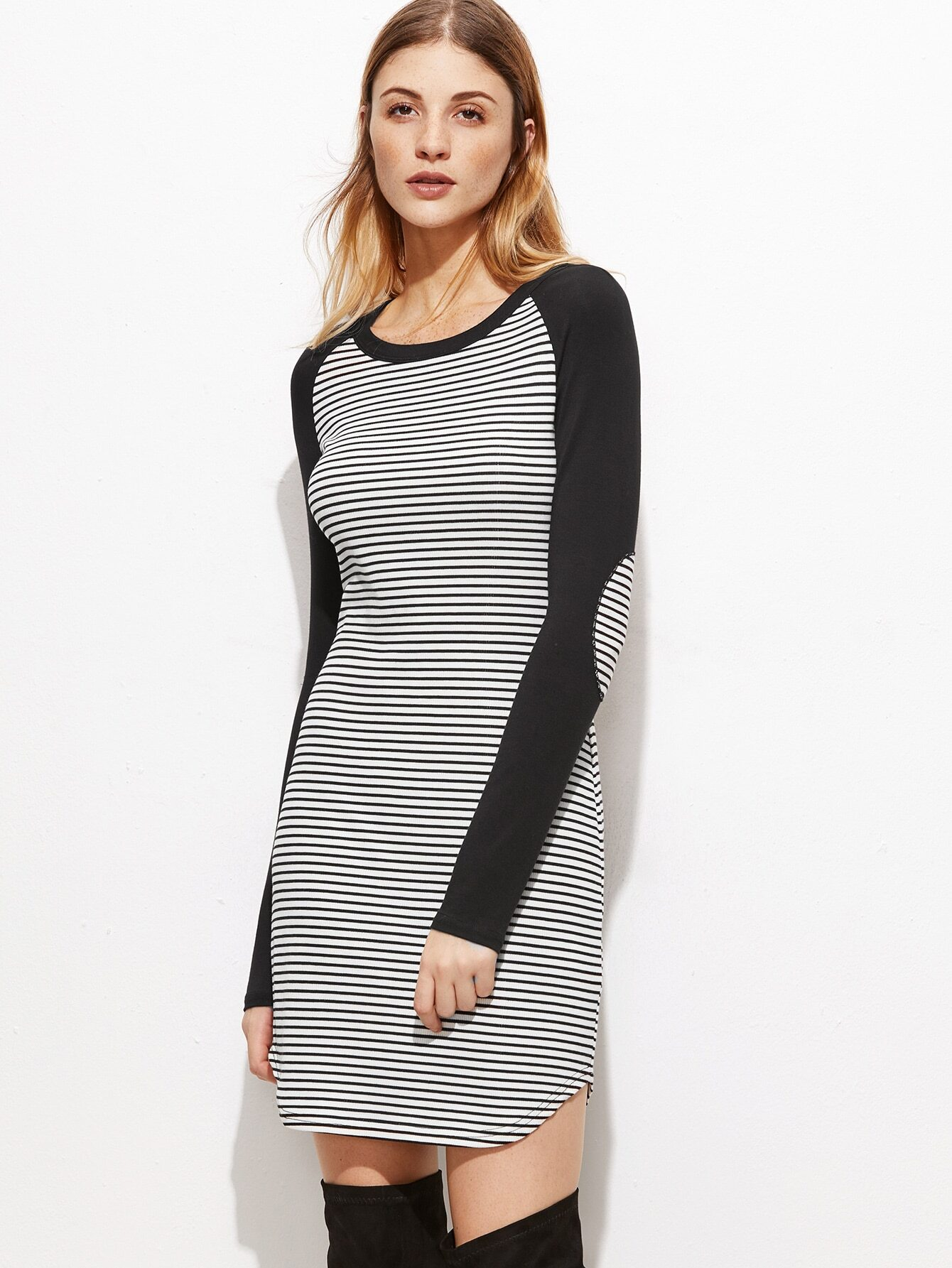 Black And White Striped Elbow Patch Contrast Sleeve Dress dress161026701