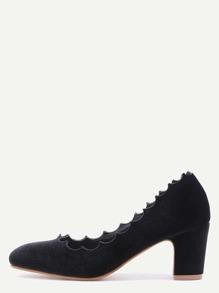 Black Velvet Almond Toe Irregular Edge Chunky Heels