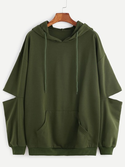 Hooded Elbow Cutout Kangaroo Pocket Sweatshirt