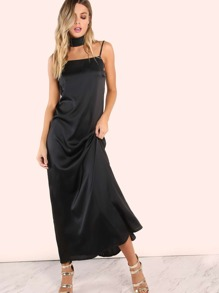 Satin Straight Neck Cami Maxi Dress BLACK