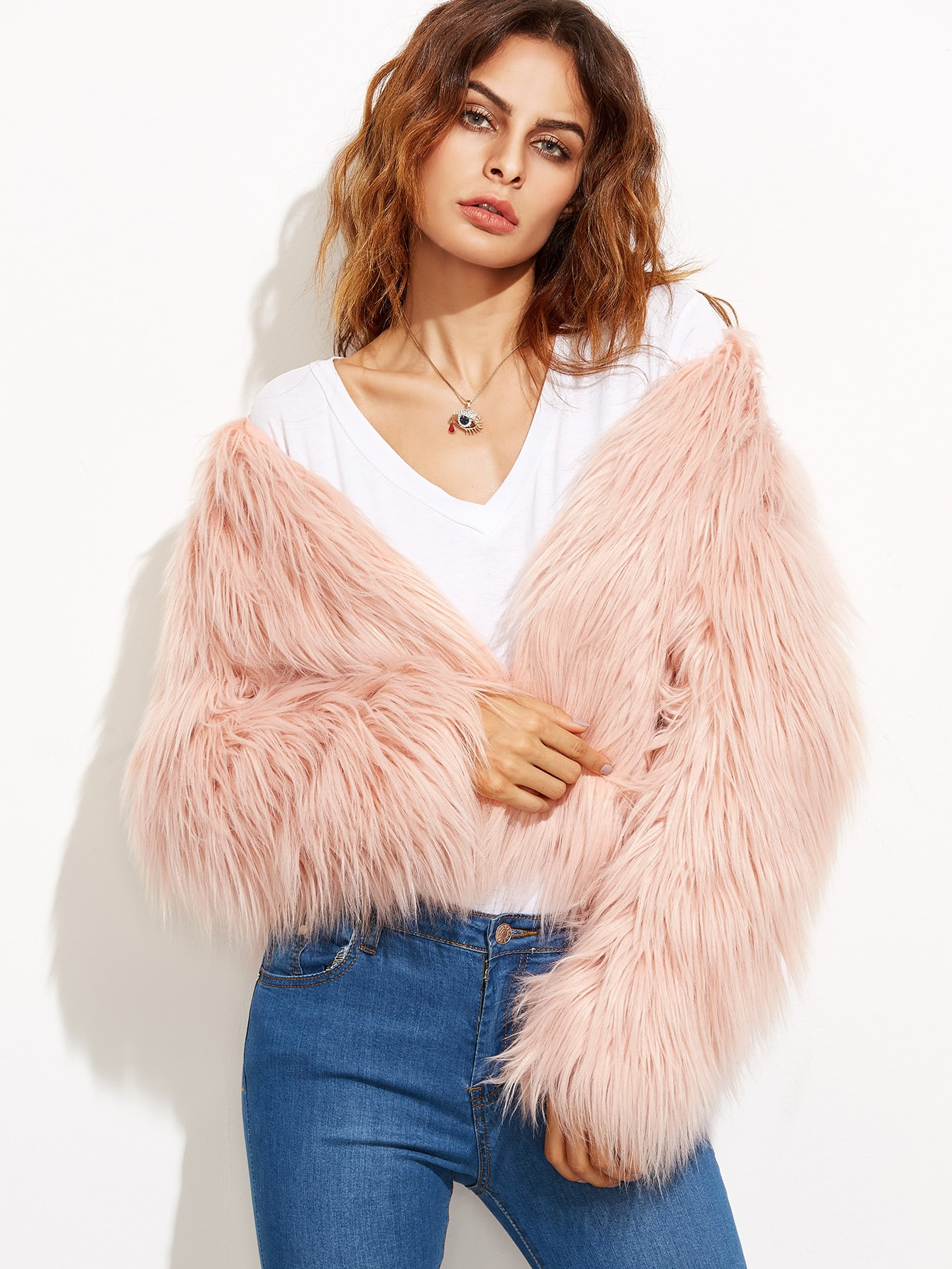 Coats Pink Faux Fur Collarless Cute Elegant Crop Winter Plain Fabric has no stretch Long Sleeve Outerwear.