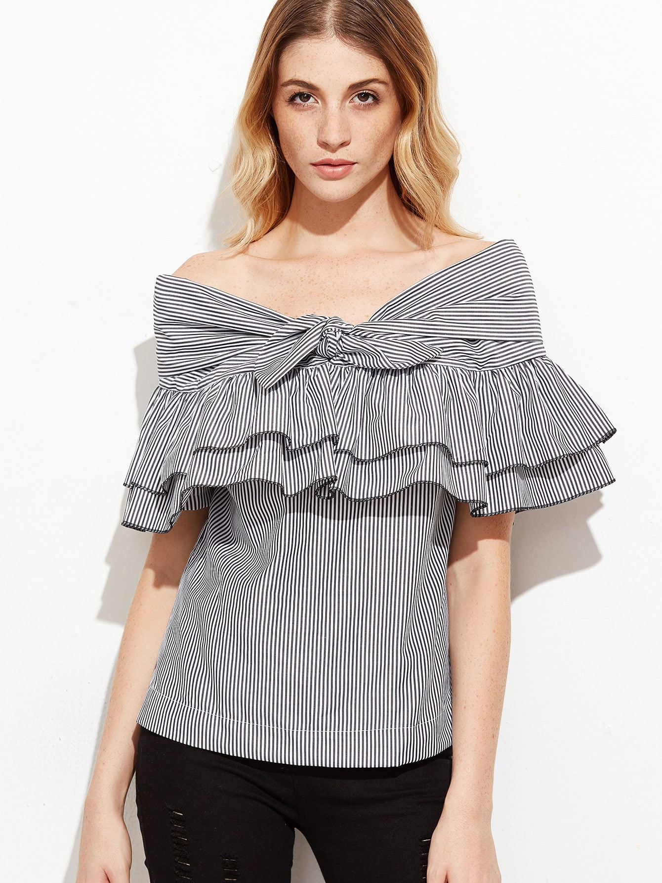 Фото Pinstriped Knotted Bardot Ruffle Top. Купить с доставкой