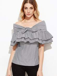 Black Striped Knotted Off The Shoulder Ruffle Top