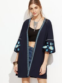 Navy Embroidered Tape Trim Lantern Sleeve Coat