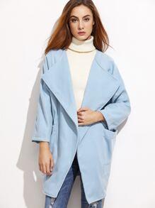 Blue Draped Collar Raglan Sleeve Cocoon Coat