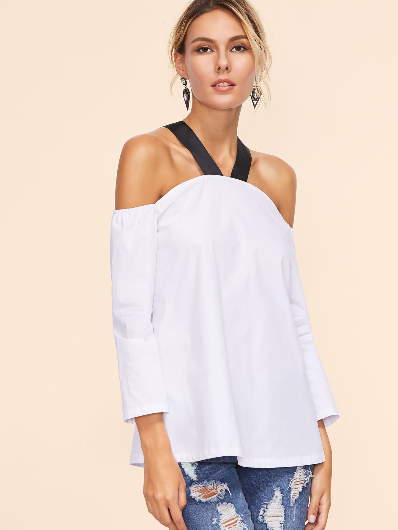 Contrast Strap Cold Shoulder Top contrast strap cold shoulder top
