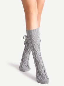 Grey Cable Textured Pom Pom Socks