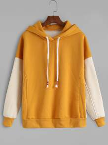 Mustard Contrast Sleeve Drawstring Hooded Sweatshirt