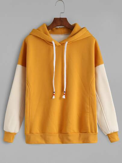 Contrast Sleeve Drawstring Hooded Sweatshirt