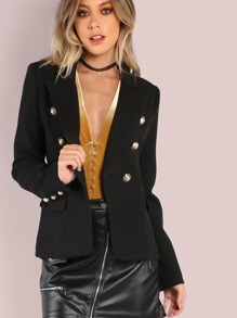 Gold Button Double Breasted Tailored Blazer BLACK
