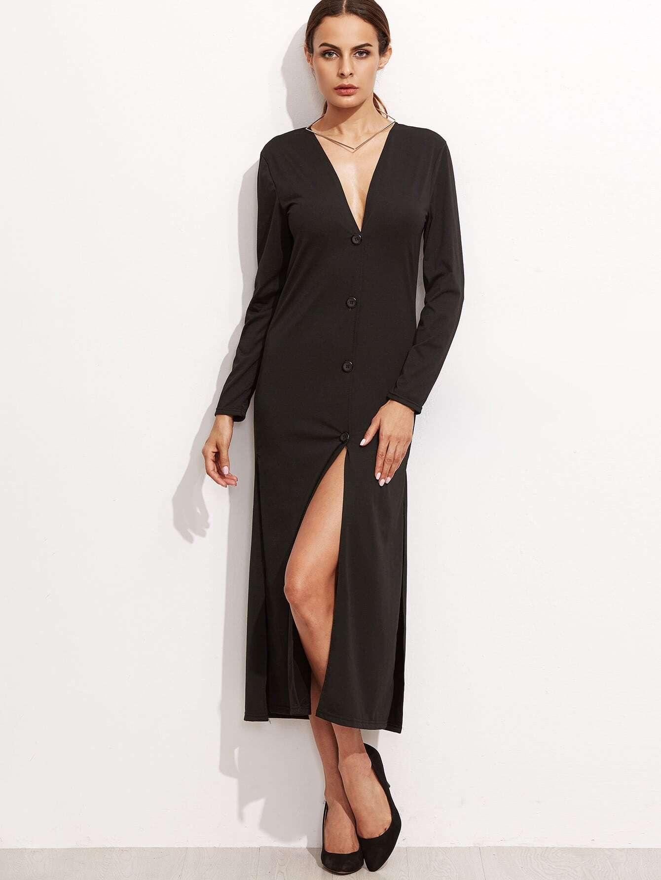 Black Deep V Neck Slit Side Shirt Dress dress161024104