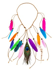 Multicolor Boho Feather Braided Beaded Hair Accessory