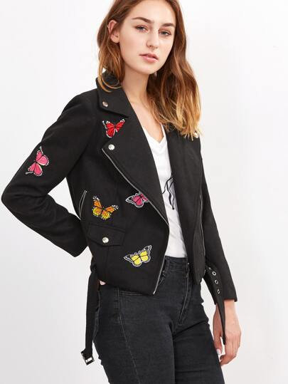 Black Butterfly Embroidered Wool Blended Biker Jacket