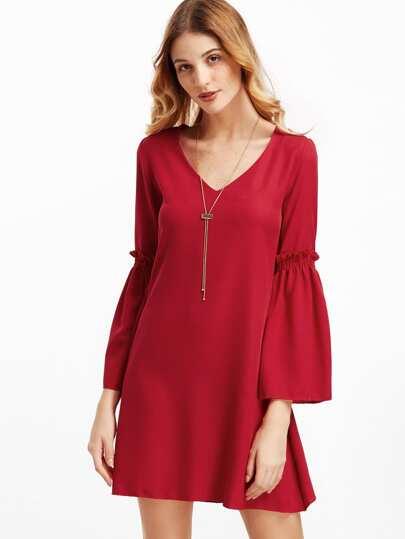 Red V Neck Bell Sleeve Shift Dress