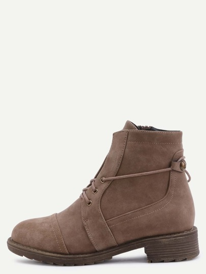 Brown Faux Leather Cap Toe Lace Up Short Boots