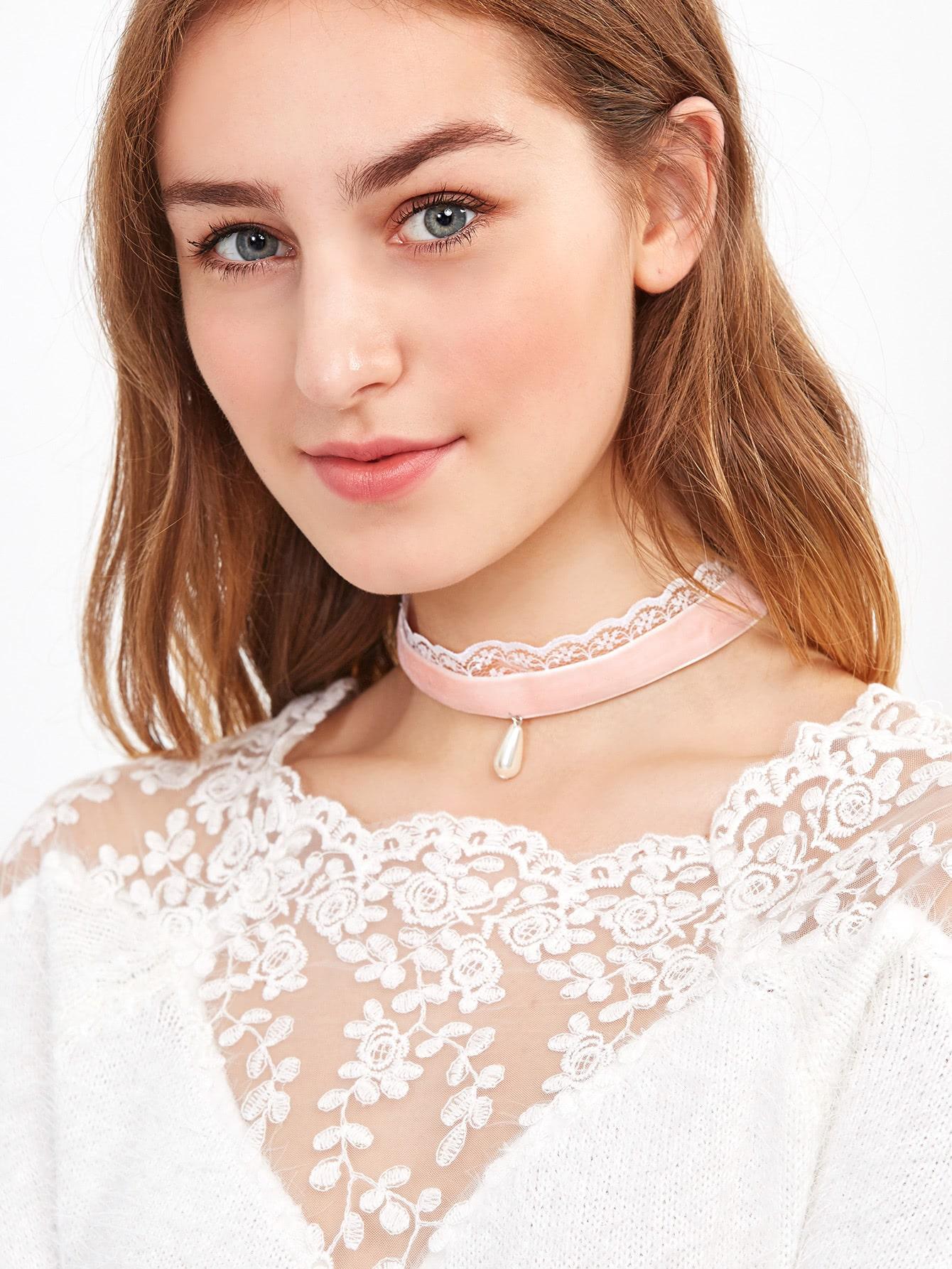 Фото Pink Faux Pearl Velvet Lace Layered Choker Necklace. Купить с доставкой