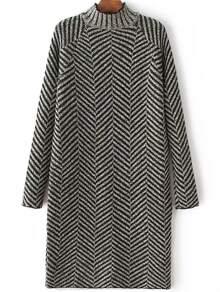 Black Mock Neck Raglan Sleeve Sweater Dress