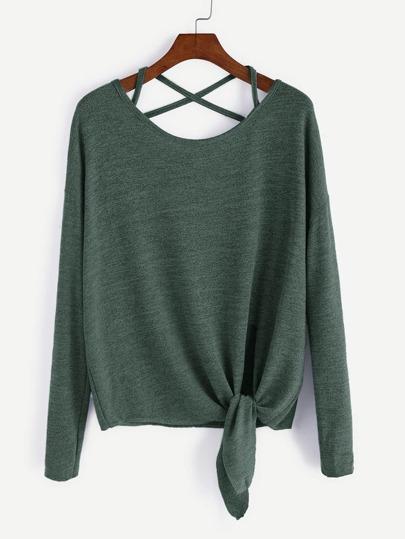 T-shirt mit Kreuz Schleife Drop Schulter-dunkel grün