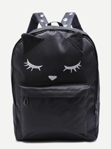 Sac à dos en nylon motif renard mignon avec poche - noir