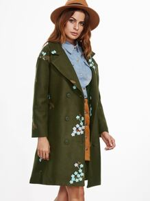 Army Green Flower Embroidered Slit Back Coat