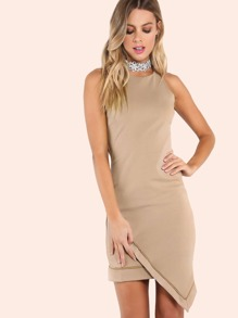 Tailored Asymmetrical Trim Dress BEIGE