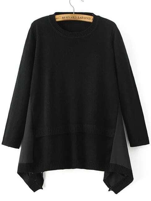 Black Ribbed Trim Asymmetrical Hem Sweater sweater161011218