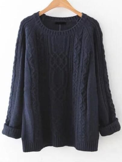 Pull tricoté en câble manche raglan - bleu marine