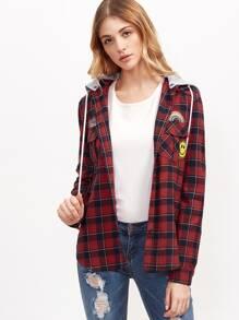 Red Plaid Contrast Detachable Hood Shirt Jacket