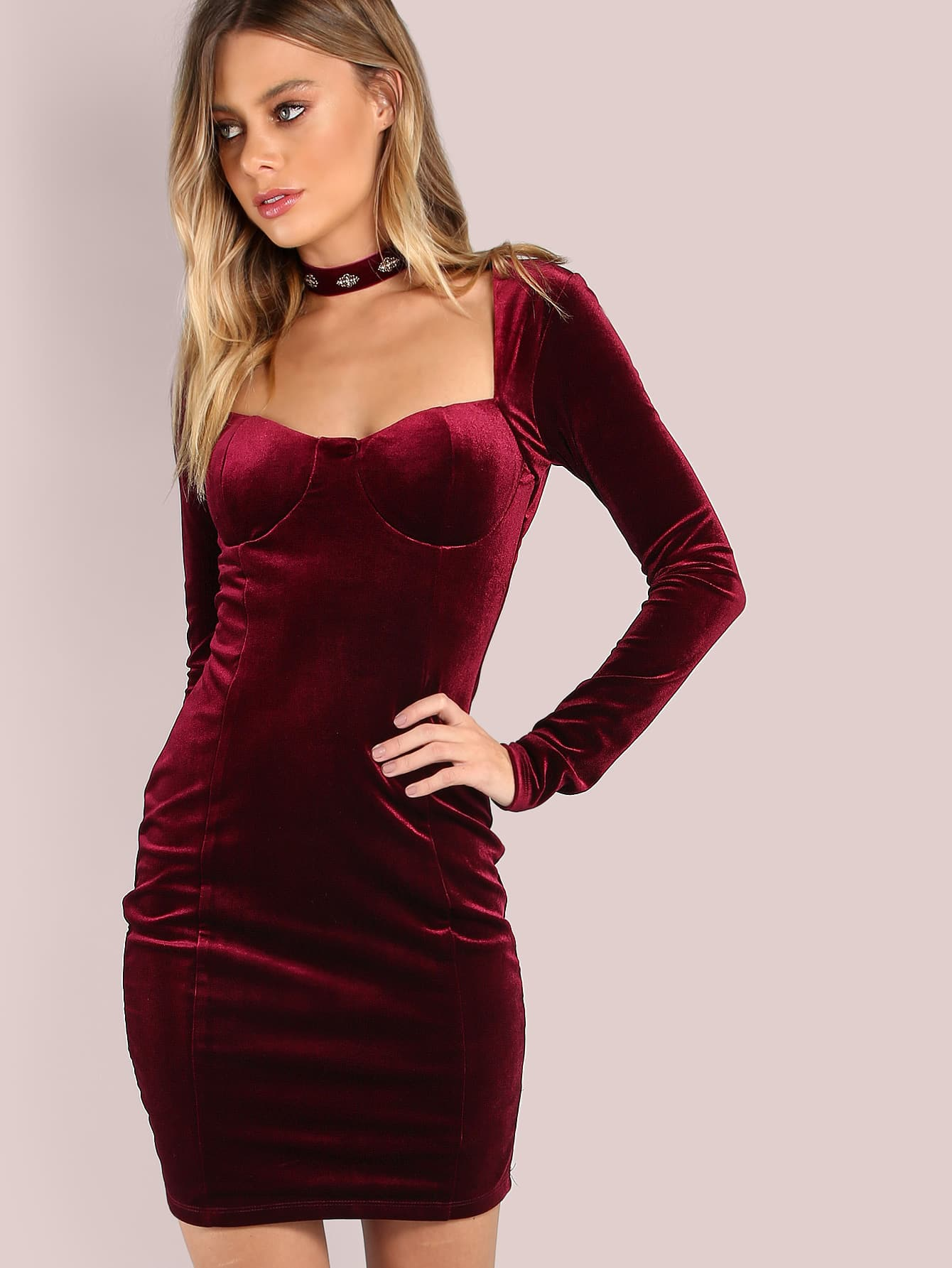 Фото Sleeved Velvet Cupped Mini Dress BURGUNDY. Купить с доставкой