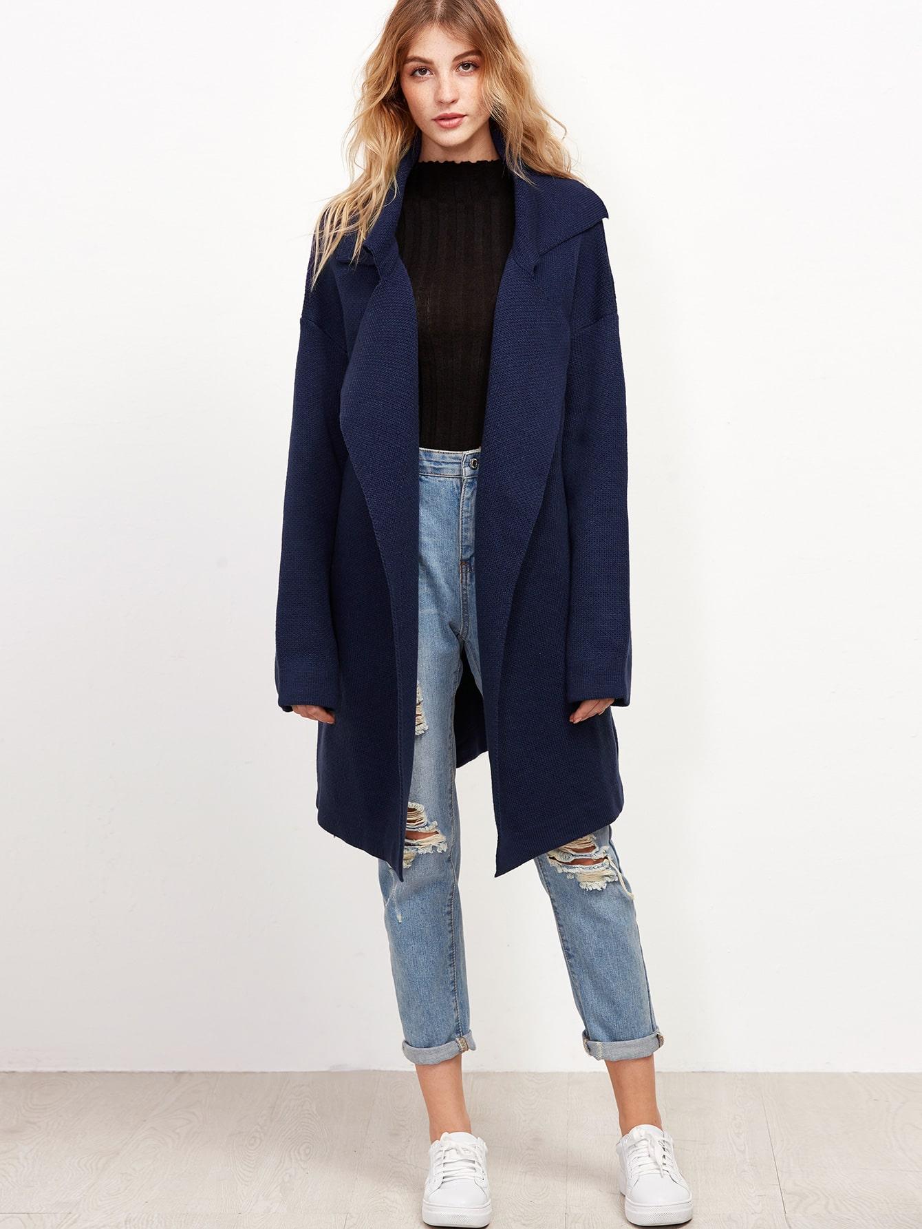 Navy Notch Collar Drop Shoulder Sweater Coat sweater161021403