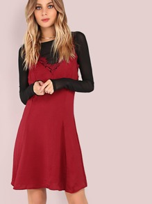 Lace Hem Cami Fit & Flare Dress BURGUNDY