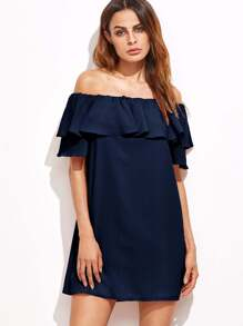 Navy Off The Shoulder Ruffle Dress