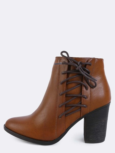 Criss Cross Lace Up Booties CHESTNUT