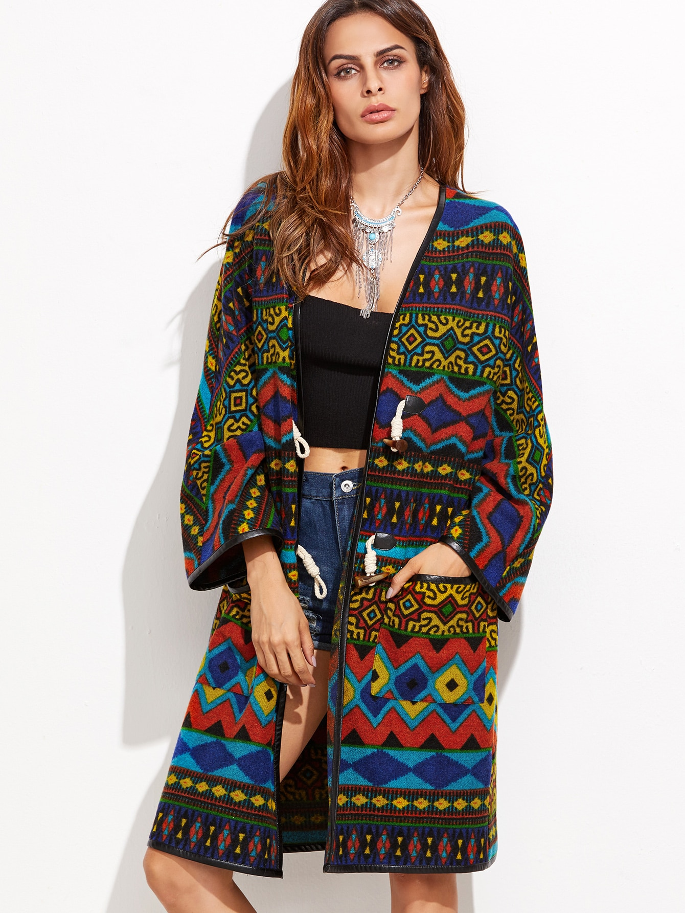 Multicolor Geo Pattern Faux Leather Binding CoatMulticolor Geo Pattern Faux Leather Binding Coat<br><br>color: Multi<br>size: one-size