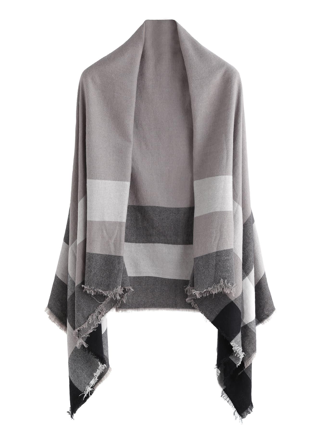 Grey Plaid Raw Edge Shawl Scarf scarf161013007