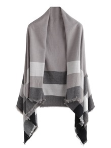 Grey Plaid Raw Edge Shawl Scarf
