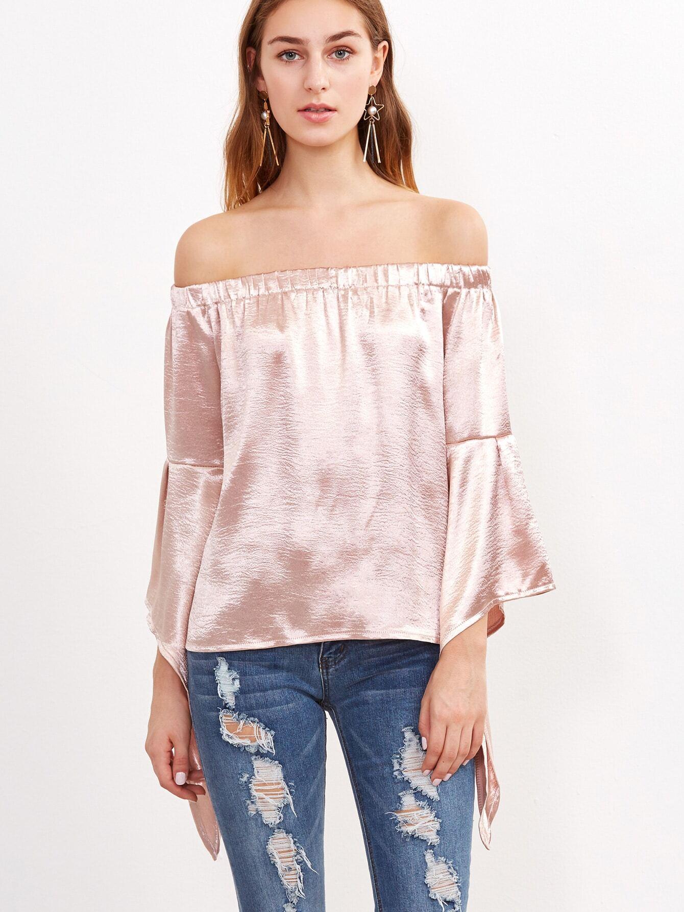 Pink Off The Shoulder Drop Shoulder Seam Top blouse161017032