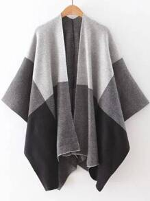 Pull poncho ouvert couleur bloc