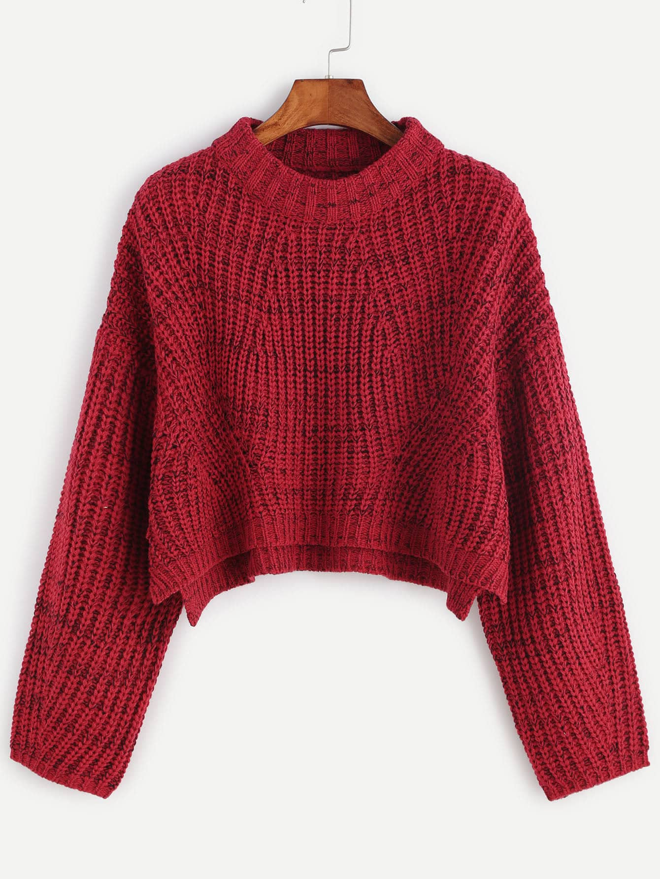 Red Marled Knit Drop Shoulder Slit Crop Sweater -SheIn(Sheinside)