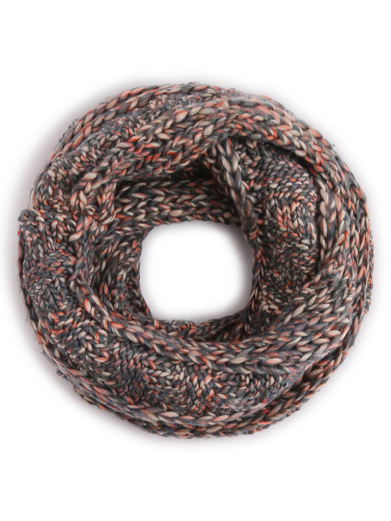 Grey Ribbed Marled Chunky Knit Infinity Scarf scarf161031002