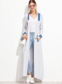 Grey Striped Trim Side Slit Longline Coat