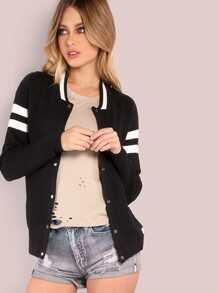 Varsity Knit Jacket BLACK