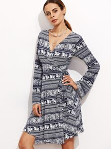 Vintage Print Deep V Neck Wrap Dress