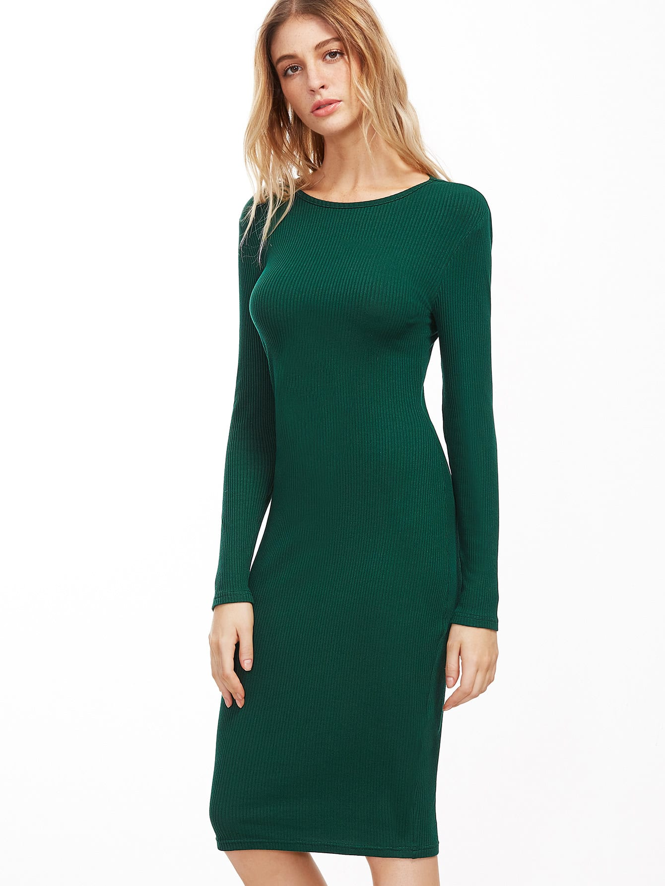 Forest Green Ribbed Pencil Dress dress161024704