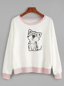 Sweat-shirt imprimé chat - blanc